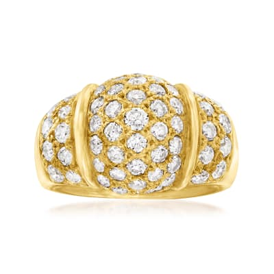 C. 1990 Vintage 2.49 ct. t.w. Diamond Dome Ring in 18kt Yellow Gold
