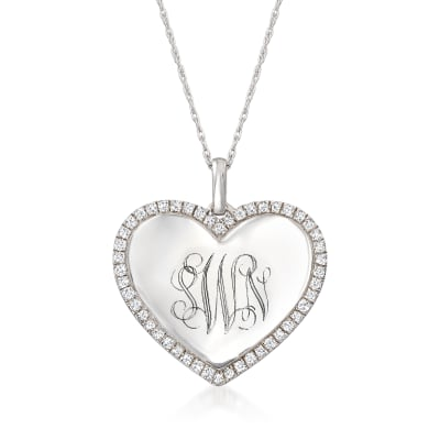 .50 ct. t.w. Diamond Personalized Heart Pendant Necklace in Sterling Silver