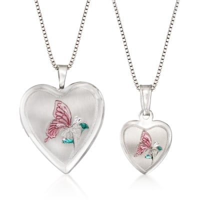 Sterling Silver Mom & Me Jewelry Set: Two Butterfly Heart Locket Necklaces with Enamel