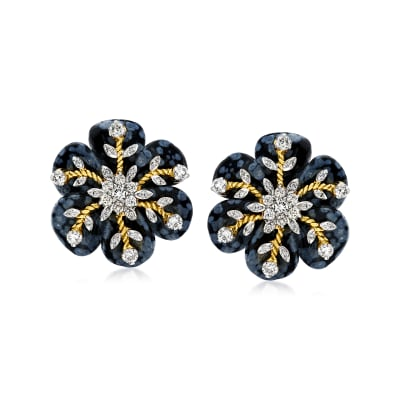 C. 1980 Vintage .69 ct. t.w. Diamond and Carved Black Obsidian Snowflake Earrings with 14kt Yellow Gold