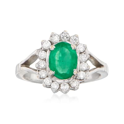 C. 1980 Vintage .90 Carat Emerald and .40 ct. t.w. Diamond Ring in 18kt White Gold