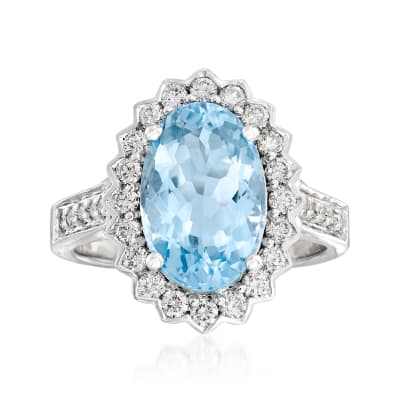 4.30 Carat Aquamarine and .64 ct. t.w. Diamond Ring in 14kt White Gold