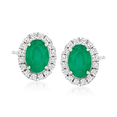 1.50 ct. t.w. Emerald and .27 ct. t.w. Diamond Stud Earrings in 14kt White Gold
