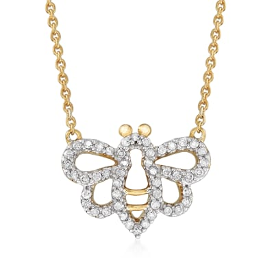 .20 ct. t.w. Diamond Bee Necklace in 18kt Gold Over Sterling