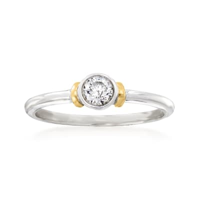 .25 Carat Bezel-Set Diamond Ring in Sterling Silver and 14kt Yellow Gold