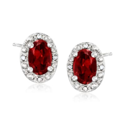 1.10 ct. t.w. Garnet Stud Earrings with Diamond Accents in Sterling Silver