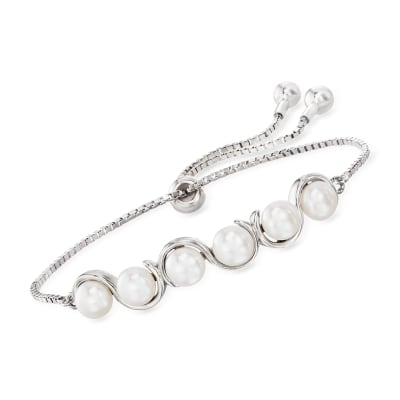 5.5-6mm Cultured Pearl Bolo Bracelet in Sterling Silver