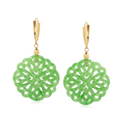 Green Quartzite Flower Drop Earrings in 14kt Yellow Gold