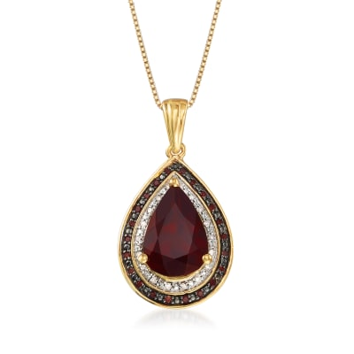 4.10 Carat Garnet and .20 ct. t.w. Red and White Diamond Pendant Necklace in 18kt Gold Over Sterling