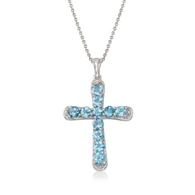 3.30 ct. t.w. Blue Topaz Cross Pendant Necklace in Sterling Silver