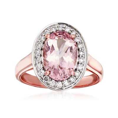 2.40 Carat Morganite and .30 ct. t.w. Diamond Ring in 14kt Rose Gold