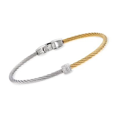 "ALOR ""Classique"" Two-Tone Stainless Steel and 18kt White Gold Cable Bracelet with Diamond Accents"