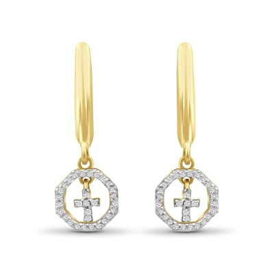 .15 ct. t.w. Diamond Cross Drop Earrings in 18kt Yellow Gold Over Sterling Silver