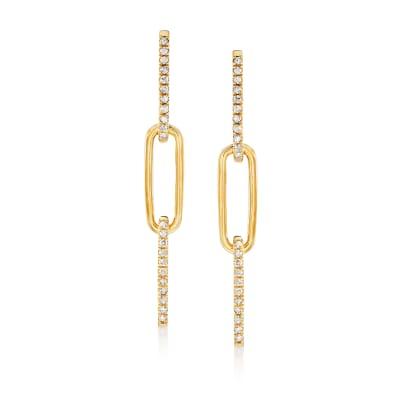 .50 ct. t.w. Diamond Paper Clip Link Drop Earrings in 18kt Gold Over Sterling