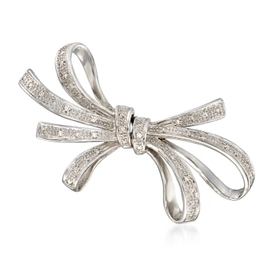 .10 ct. t.w. Diamond Ribbon Pin in Sterling Silver