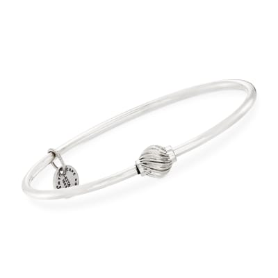 Cape Cod Jewelry Sterling Silver Single Swirled Bead Bangle Bracelet