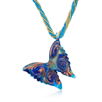 Italian Murano Glass Butterfly Pendant Necklace with 18kt Gold Over Sterling