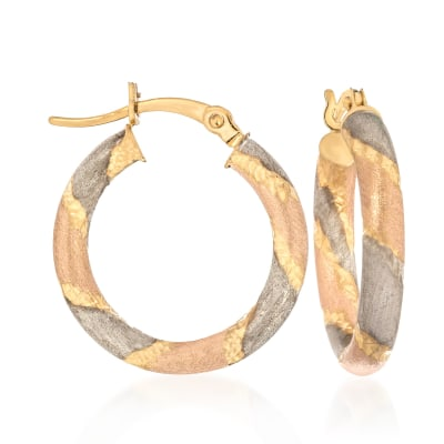 14kt Tri-Colored Gold Multi-Finish Striped Hoop Earrings