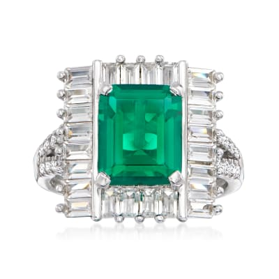 4.25 Carat Simulated Emerald and 1.40 ct. t.w. CZ Ring in Sterling Silver