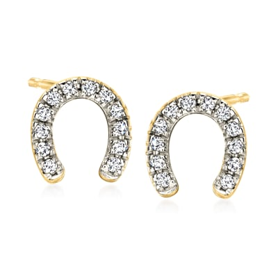 .10 ct. t.w. Diamond Horseshoe Stud Earrings in 18kt Gold Over Sterling