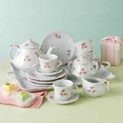 "Child's ""Sweet Rose"" Porcelain Tea Set"