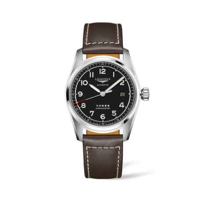 Longines Spirit Men's 40mm Automatic Stainless Steel Watch with Black Leather