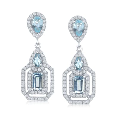 4.30 ct. t.w. Blue and White Topaz Drop Earrings in Sterling Silver
