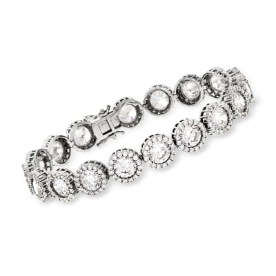 22.30 ct. t.w. CZ Halo Bracelet in Sterling Silver