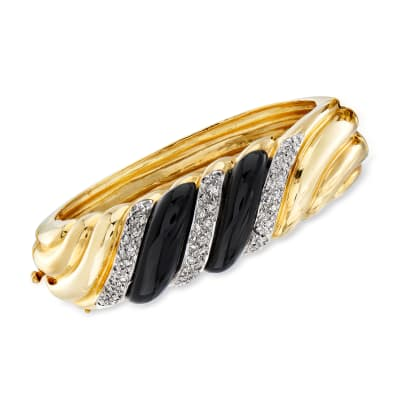 C. 1980 Vintage Onyx and 1.10 ct. t.w. Diamond Shrimp Bangle Bracelet in 14kt Yellow Gold