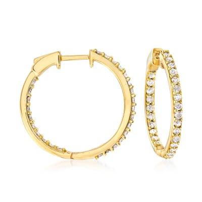 1.00 ct. t.w. Diamond Inside-Outside Hoop Earrings in 18kt Gold Over Sterling