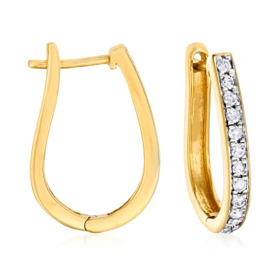 .50 ct. t.w. Diamond Oval Hoop Earrings in 18kt Gold Over Sterling