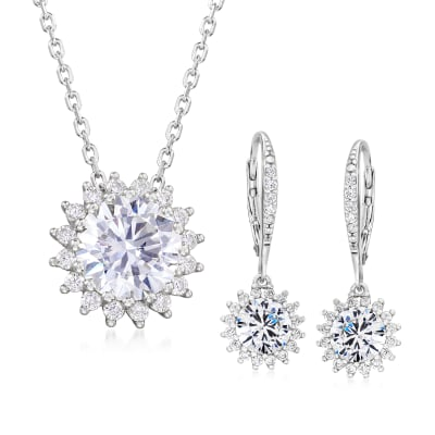 5.20 ct. t.w. CZ Jewelry Set: Flower Drop Earrings and Necklace in Sterling Silver