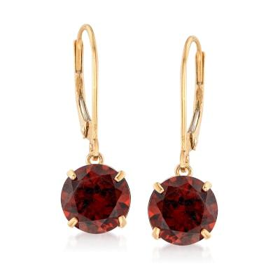 4.70 ct. t.w. Garnet Drop Earrings in 14kt Yellow Gold