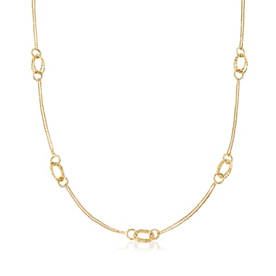 Italian 18kt Yellow Gold Round and Oval-Link Station Necklace