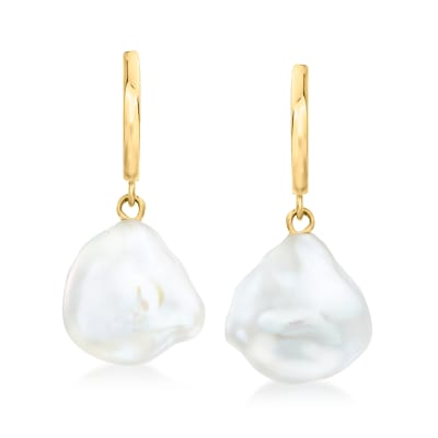 9-11mm Cultured Baroque Pearl Drop Earrings in 14kt Yellow Gold
