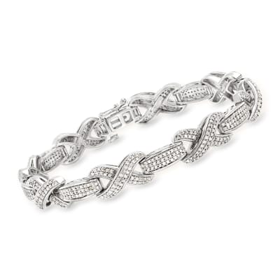 2.50 ct. t.w. Diamond X Bracelet in Sterling Silver