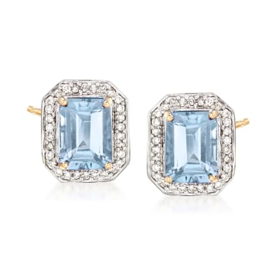 2.50 ct. t.w. Aquamarine and .20 ct. t.w. Diamond Halo Earrings in 14kt Yellow Gold