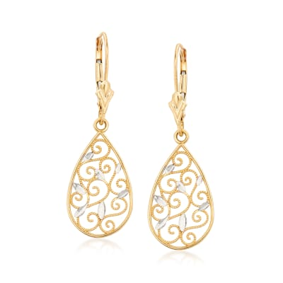 14kt Yellow Gold Filigree Teardrop Earrings