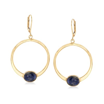 Lapis Circle Drop Earrings in 18kt Gold Over Sterling