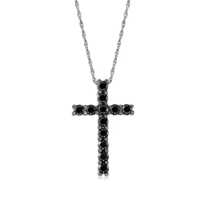 1.00 ct. t.w. Black Diamond Cross Necklace in Sterling Silver