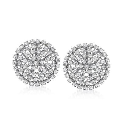 3.45 ct. t.w. Diamond Openwork Cluster Earrings in 14kt White Gold