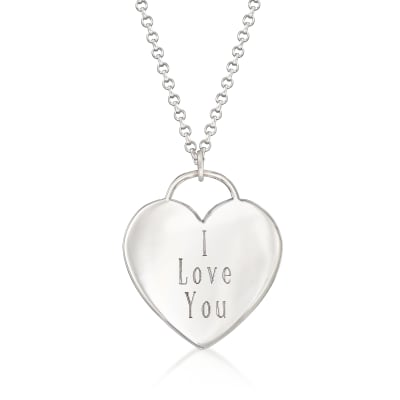 "Sterling Silver Heart-Shaped ""I Love You"" Pendant Necklace"