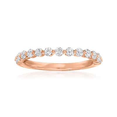 Henri Daussi .50 ct. t.w. Diamond Wedding Ring in 14kt Rose Gold