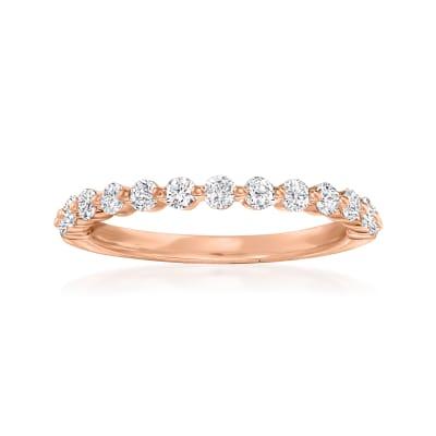 Henri Daussi .50 ct. t.w. Diamond Wedding Ring in 14kt Rose Gold