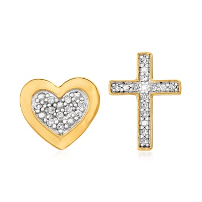 Diamond-Accented Cross and Heart Mismatched Stud Earrings in 14kt Yellow Gold