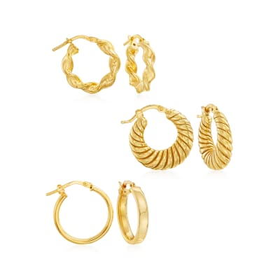 Italian 18kt Gold Over Sterling Jewelry Set: Three Pairs of Hoop Earrings