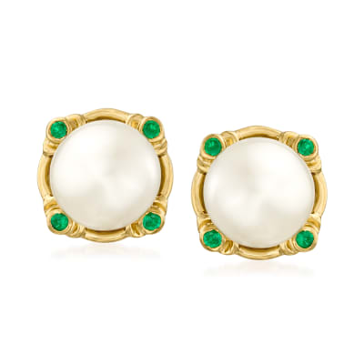 8mm Cultured Pearl and .10 ct. t.w. Emerald Earrings in 18kt Gold Over Sterling