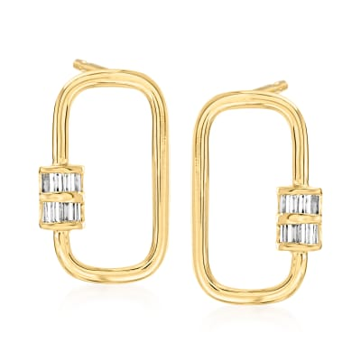 .20 ct. t.w. Diamond Oval Carabiner-Link Drop Earrings in 18kt Gold Over Sterling
