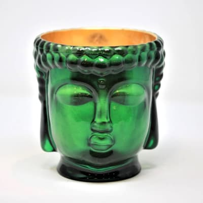 """Thompson Ferrier """"Cleopatra"""" Emerald-Hued Glass Buddha Candle with 24kt Gold"""
