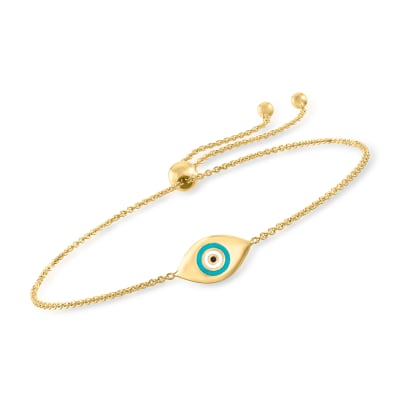 14kt Yellow Gold Evil Eye Bolo Bracelet with Enamel